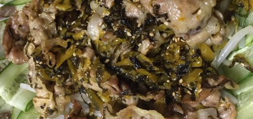 豚肉と辛子高菜の炒め物